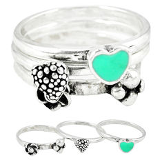 925 silver indonesian bali style solid enamel stackable 3 rings size 8.5 c20946