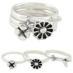 925 silver indonesian bali style solid flower 3 band rings size 5.5 c22233