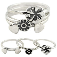 925 silver indonesian bali style solid flower 3 band rings size 6 c22240