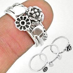 925 silver 6.69gms indonesian bali style solid flower 3 rings size 6 t20639