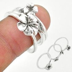 925 silver 6.69gms indonesian bali style solid flower 3 rings size 7.5 t20626