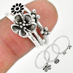 925 silver 6.07gms indonesian bali style solid flower 3 rings size 5.5 t20629