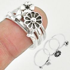 925 silver 6.69gms indonesian bali style solid flower 3 rings size 6.5 t20635