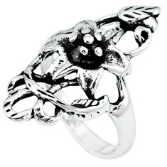 925 silver indonesian bali style solid flower charm ring jewelry size 8 c20404