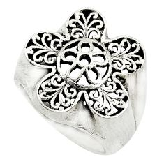 925 silver 7.02gms indonesian bali style solid flower ring size 6.5 t6260