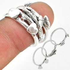 925 silver 6.89gms indonesian bali style solid heart 3 rings size 7.5 t20630