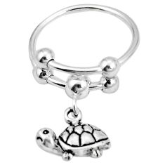 925 silver indonesian bali style solid tortoise ring jewelry size 8 c20963