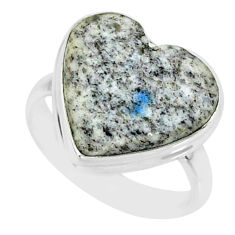 925 silver 10.81cts k2 blue (azurite in quartz) solitaire ring size 8 r84691
