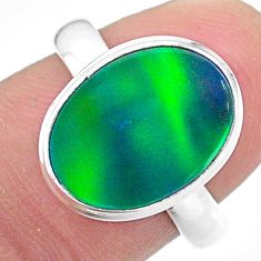 925 silver 4.13cts lab northern lights aurora opal ring size 7.5 t24936