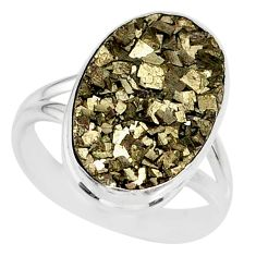 925 silver 10.78cts marcasite pyrite druzy oval solitaire ring size 8 r85787