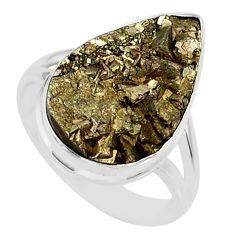925 silver 12.07cts marcasite pyrite druzy pear solitaire ring size 7.5 r85789