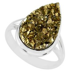925 silver 11.46cts marcasite pyrite druzy pear solitaire ring size 8.5 r85792