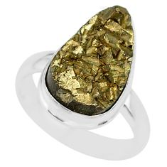 925 silver 10.02cts marcasite pyrite druzy pear solitaire ring size 7.5 r85810