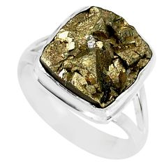 925 silver 7.66cts marcasite pyrite druzy solitaire ring jewelry size 7 r85816