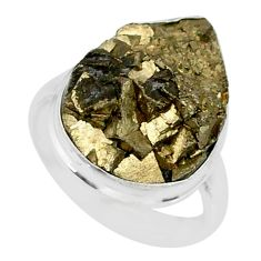 925 silver 15.47cts marcasite pyrite druzy solitaire ring jewelry size 7 r85840