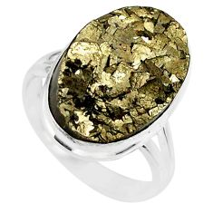 925 silver 14.12cts marcasite pyrite druzy solitaire ring jewelry size 8 r85784
