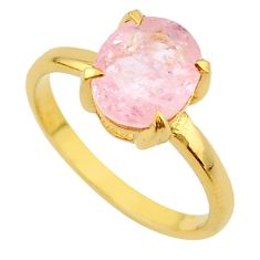 925 silver 3.62cts micron gold natural faceted morganite 14k ring size 8 t43578