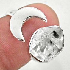 925 silver 5.53cts moon natural herkimer diamond adjustable ring size 6 t49346