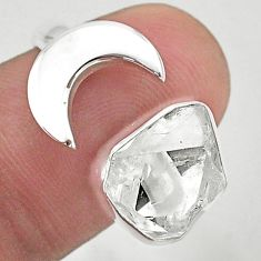 925 silver 6.02cts moon natural herkimer diamond adjustable ring size 7 t49375