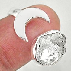 925 silver 5.79cts moon natural herkimer diamond adjustable ring size 9 t49378