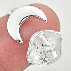 925 silver 5.53cts moon natural herkimer diamond adjustable ring size 6.5 t49371