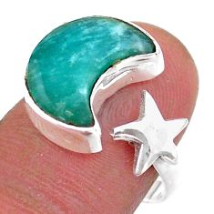 925 silver 6.26cts moon star peruvian amazonite adjustable ring size 8 t47620