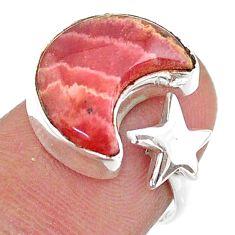 925 silver moon star rhodochrosite inca rose adjustable ring size 6.5 t47588