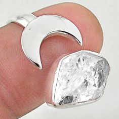 925 silver 5.87cts moon white herkimer diamond adjustable ring size 8 t49343