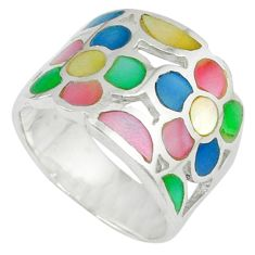 925 silver multi color blister pearl enamel flower ring size 6.5 a39873 c13060