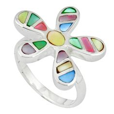925 silver multi color blister pearl enamel flower ring size 7 a39864 c13054