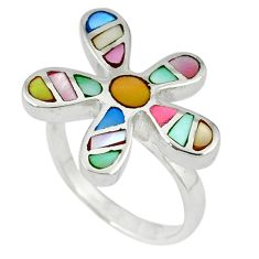 925 silver multi color blister pearl enamel flower ring size 8 a39870 c13043