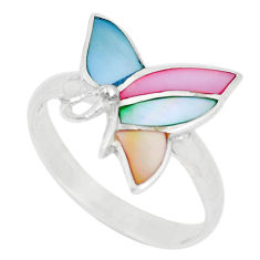925 silver 3.02gms multi color blister pearl enamel ring size 8.5 a93365 c13154