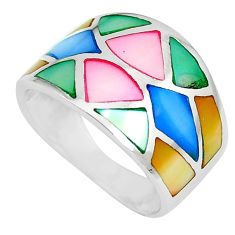 925 silver 4.89gms multi color blister pearl enamel ring size 6 a88774 c13032