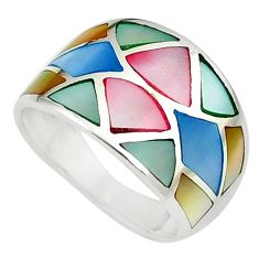 925 silver 5.02gms multi color blister pearl enamel ring size 6 a91967 c13021