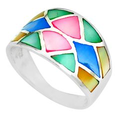 925 silver 4.69gms multi color blister pearl enamel ring size 8 a88814 c13026