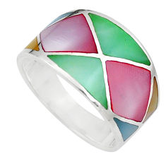 925 silver 5.02gms multi color blister pearl enamel ring size 8 a91948 c13025