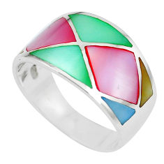 925 silver 5.26gms multi color blister pearl enamel ring size 9 a88772 c13030
