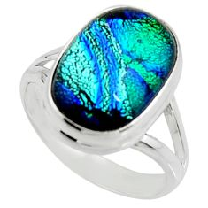 925 silver 8.10cts multi color dichroic glass fancy solitaire ring size 8 r22436