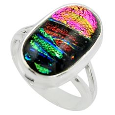 925 silver 9.39cts multi color dichroic glass solitaire ring size 7.5 r22424