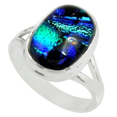 925 silver 8.14cts multi color dichroic glass solitaire ring size 9.5 r22429