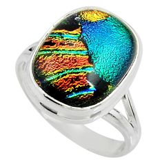 925 silver 12.34cts multi color dichroic glass solitaire ring size 9.5 r22440
