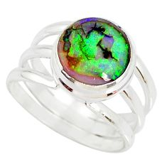 925 silver 4.02cts multi color opal solitaire ring jewelry size 8 r76915
