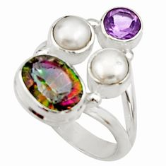 925 silver 5.79cts multi color rainbow topaz amethyst pearl ring size 5.5 r22993