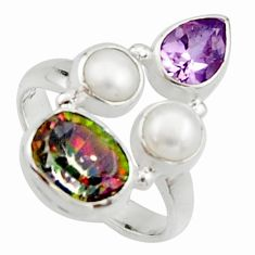 925 silver 6.31cts multi color rainbow topaz amethyst pearl ring size 6.5 r22997