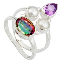 925 silver 6.08cts multi color rainbow topaz amethyst pearl ring size 8 r22983