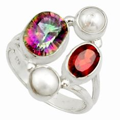 925 silver 6.58cts multi color rainbow topaz garnet pearl ring size 7 r22986