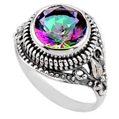925 silver 6.09cts multi color rainbow topaz round solitaire ring size 9 r54585