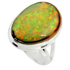 925 silver 12.58cts multi color sterling opal fancy solitaire ring size 7 r25158