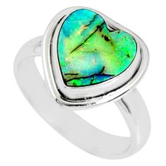 925 silver 3.62cts multi color sterling opal heart solitaire ring size 7 r70204