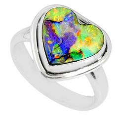 925 silver 4.44cts multi color sterling opal heart solitaire ring size 7 r70206